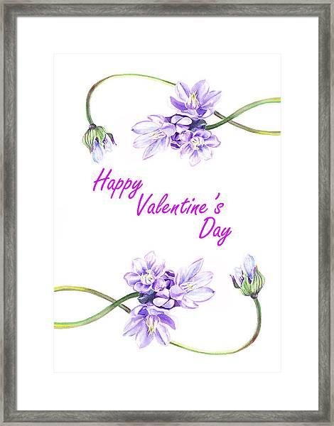 Happy Purple Valentine Framed Print