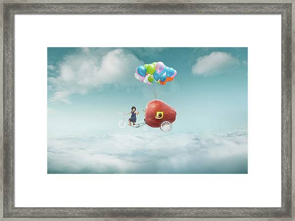 Happy Sister Enjoy With Fantasy Apple Framed Print