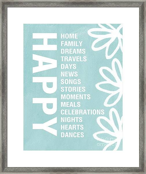 Happy Things Blue Framed Print