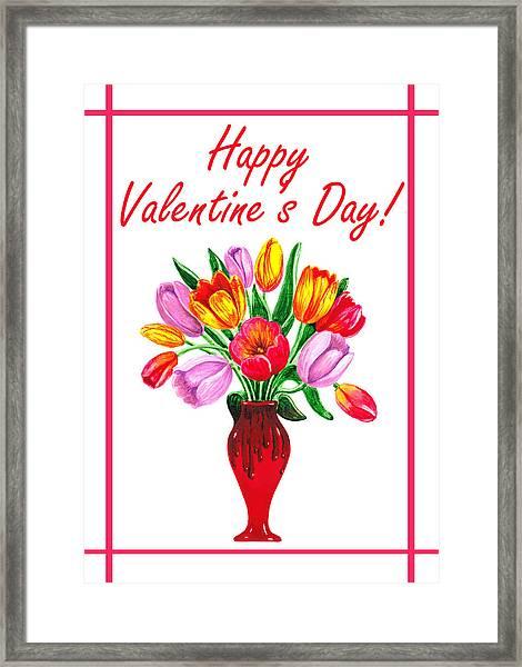 Happy Valentines Tulip Bouquet Framed Print