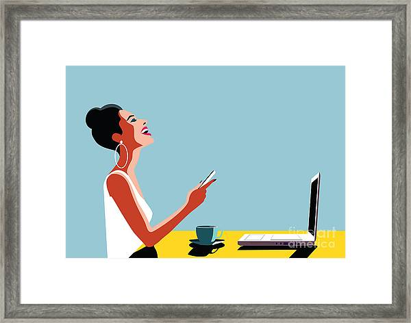 Happy Young Beautiful Woman Using Framed Print