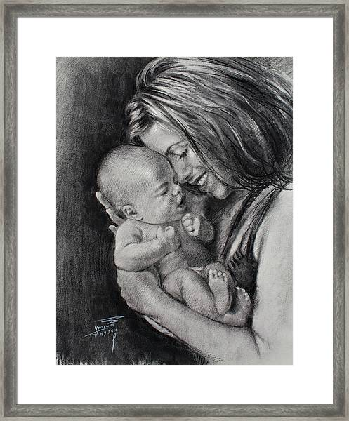 Happy Young Mother Framed Print
