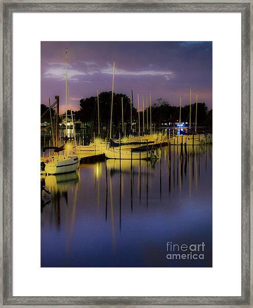 Harbor At Night Framed Print