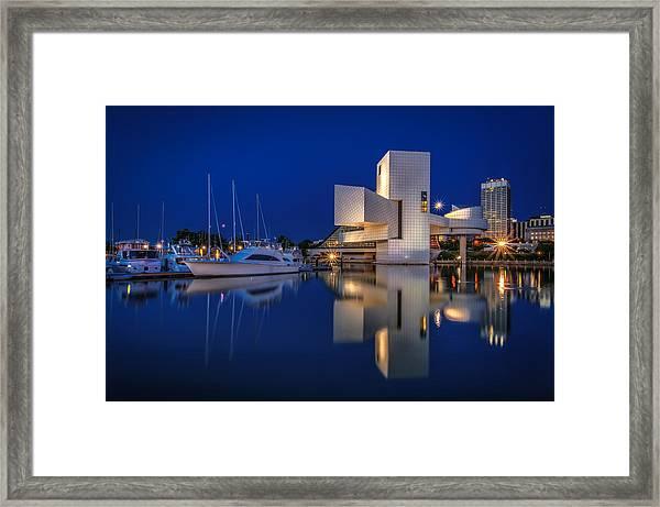 Harbor In Blue Framed Print