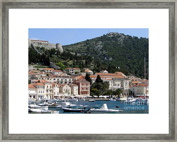 Harbor In Hvar Croatia Framed Print