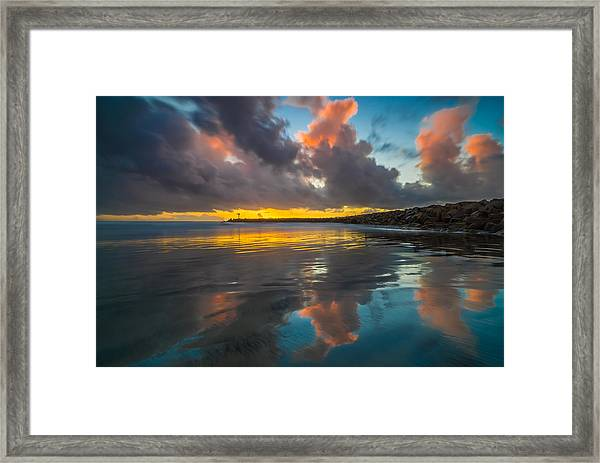 Harbor Jetty Reflections Framed Print