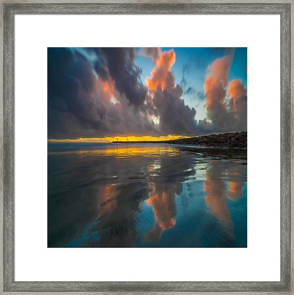 Harbor Jetty Reflections Square Framed Print
