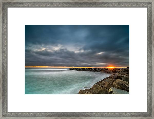 Harbor Jetty Sunset Framed Print