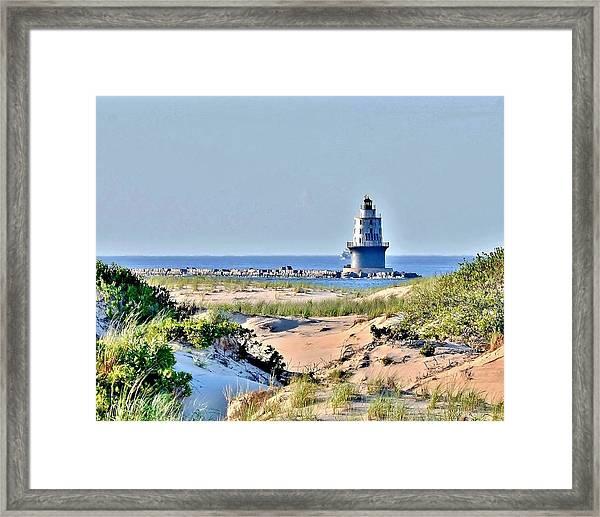 Harbor Of Refuge Lighthouse Framed Print