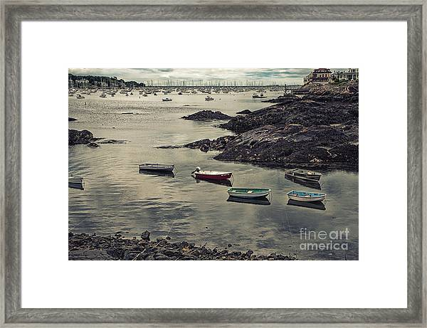 Harbor On A Cloudy Day Framed Print