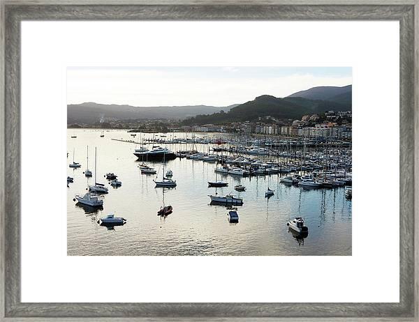 Harbour Of Baiona Framed Print
