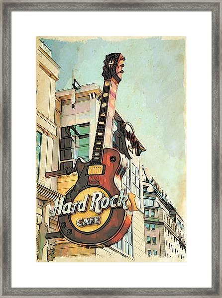 Hard Rock Guitar Framed Print