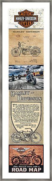Harley-davidson Montage With Austin Map Framed Print