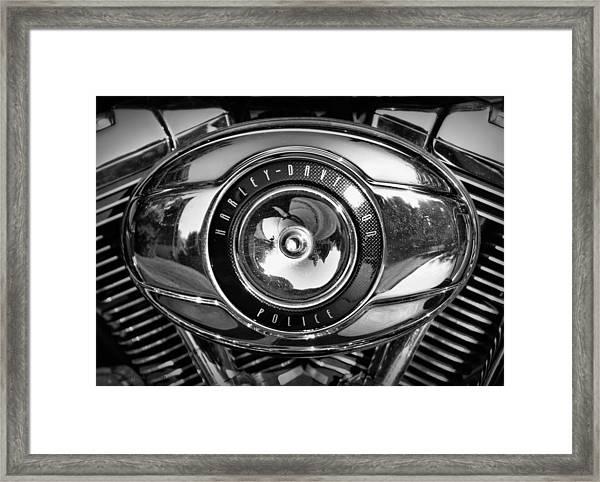 Harley-davidson Police B And W Framed Print