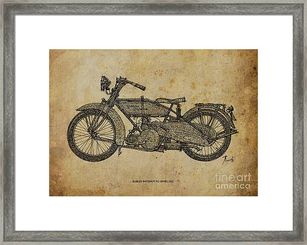Harley Davidson Wj Sport - 1921 Framed Print