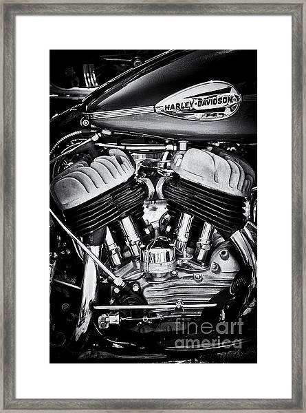 Harley Davidson Wla Monochrome Framed Print