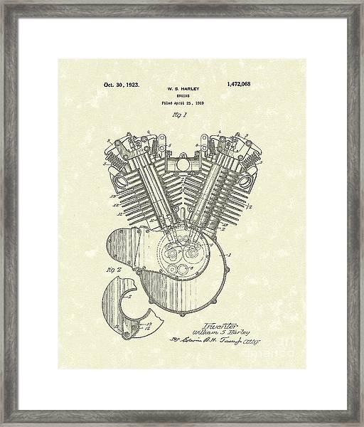 Harley Engine 1923 Patent Art Framed Print