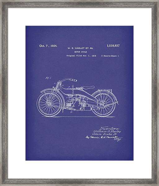 Harley Motorcycle 1924 Patent Art Blue Framed Print by Prior Art Design