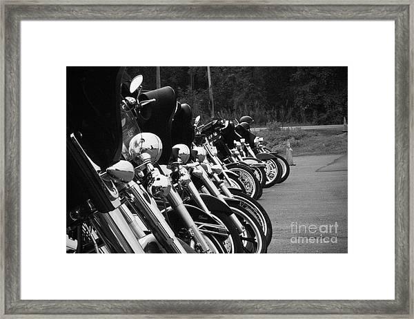 Harleys All In A Row Framed Print