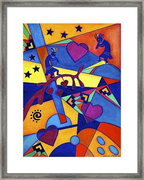 Harvesting The Love Kokopelli Art  Framed Print
