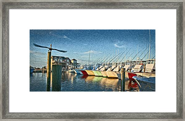 Hatteras Harbor Marina Framed Print by Williams-Cairns Photography LLC