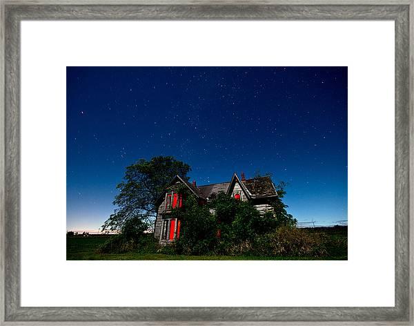 Haunted Farmhouse At Night Framed Print