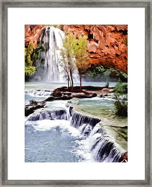 Havasau Falls Painting Framed Print