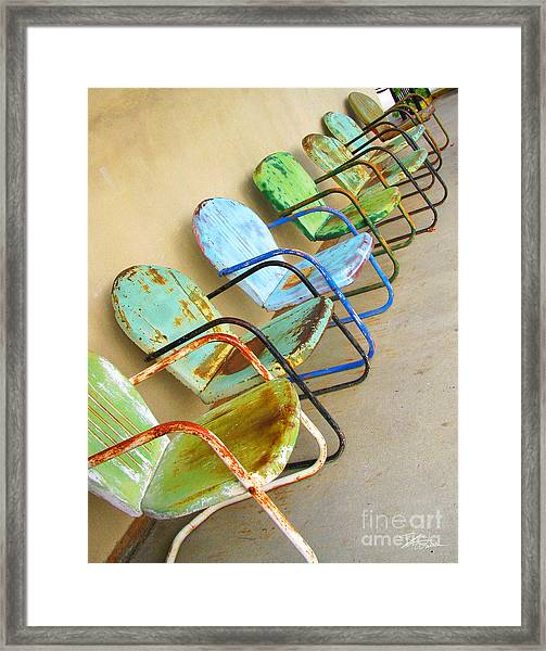 Have A Seat Rusty Chairs Framed Print