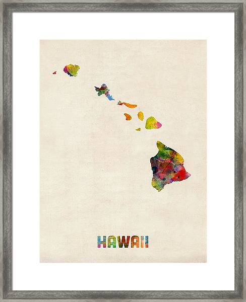 Hawaii Watercolor Map Framed Print