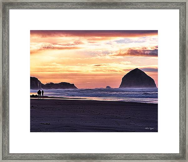 Haystack Rock Beach Walk Sunset Framed Print