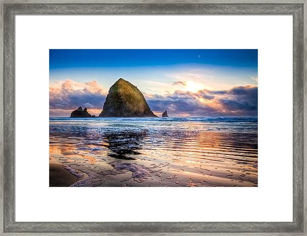 Haystack Rock Framed Print by Niels Nielsen
