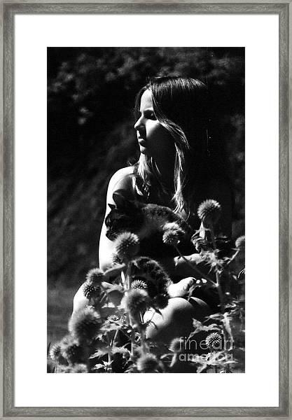 Hayven And Cat Framed Print by Gloria De los Santos