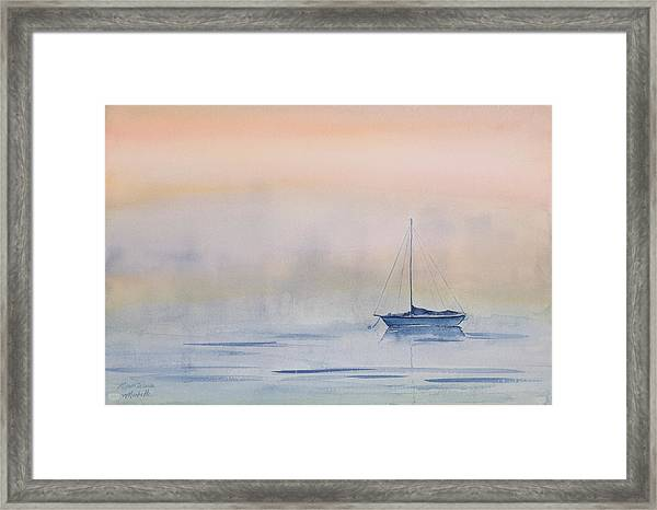 Hazy Day Watercolor Painting Framed Print