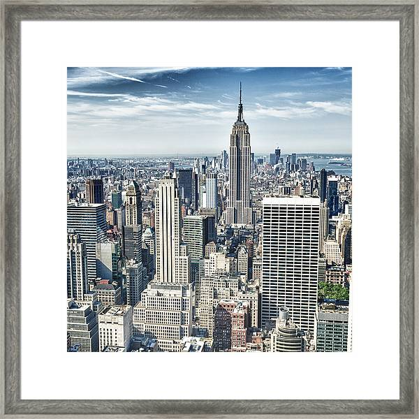 Hdr Of Empire State Building And Framed Print