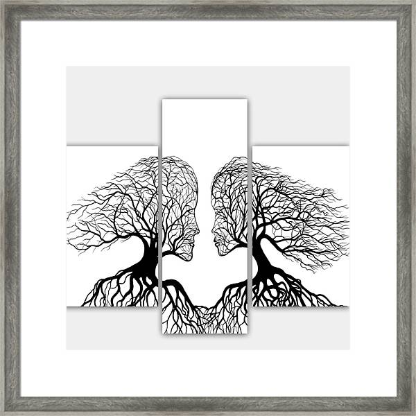He And She In Love Triptych Acrylic On Canvas Framed Print