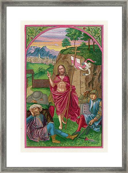 He Emerges From His Tomb, Carrying Framed Print