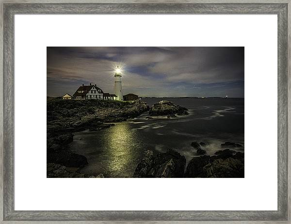 Head Light By Night Framed Print