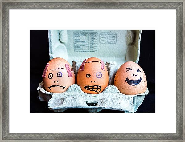 Headache Eggs. Framed Print