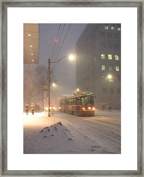 Heading Home In The Snowstorm Framed Print