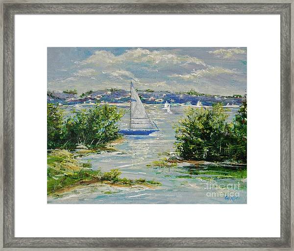 Heading Out Of The Harbor Framed Print