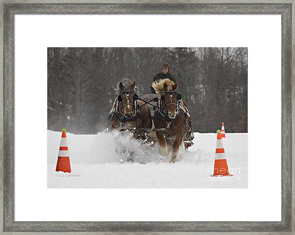Heading To The Finish Framed Print
