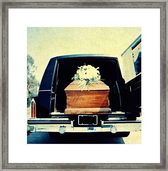 Hearse With Coffin Coming Out Of Back Framed Print by Walter B. McKenzie