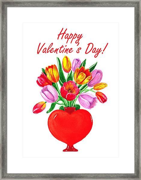 Heart Full Of Tulips Valentine Bouquet  Framed Print