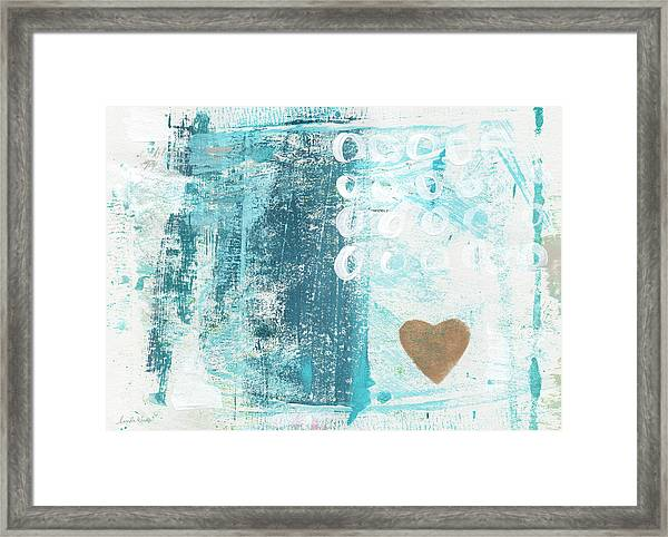 Heart In The Sand- Abstract Art Framed Print