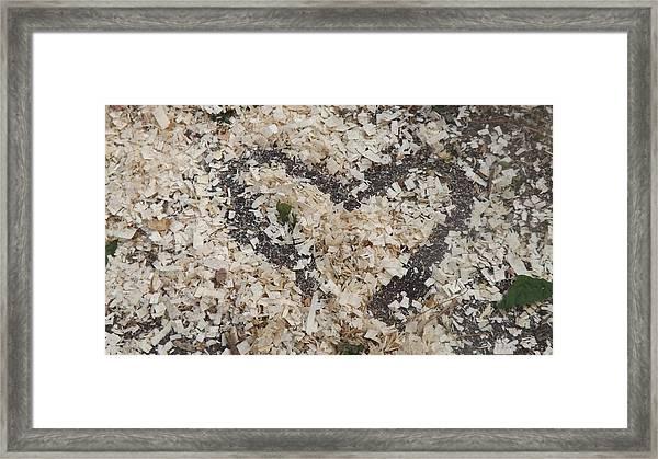Heart In Wood Shavings Framed Print