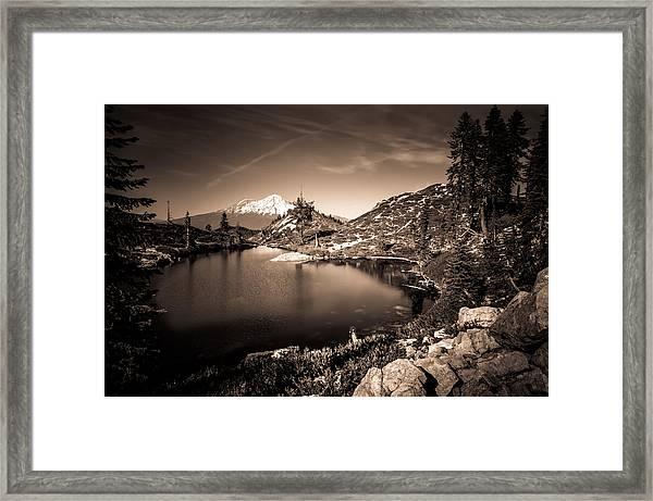 Heart Lake And Mt Shasta Framed Print