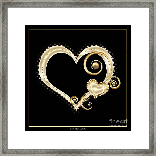 Hearts In Gold And Ivory On Black Framed Print