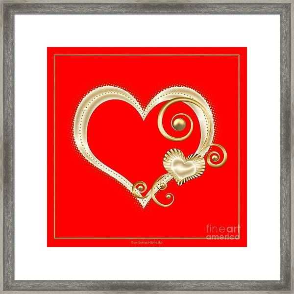 Hearts In Gold And Ivory On Red Framed Print