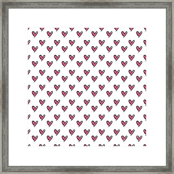 Hearts Seamless Pattern. Cute Doodle Framed Print