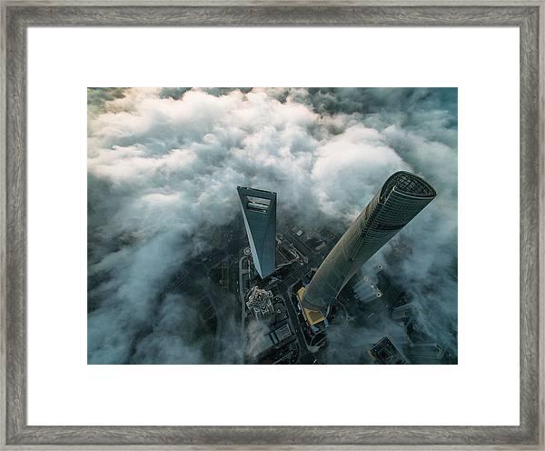 Heavenly View Of Shanghai Framed Print